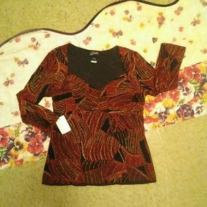 FTB Multicolor Blouse Christmas Holiday Size Large